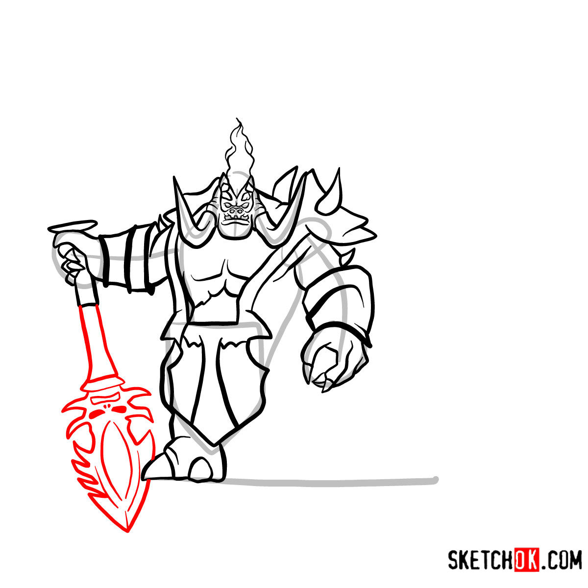 How to draw Mannoroth the Destructor   World of Warcraft - step 13