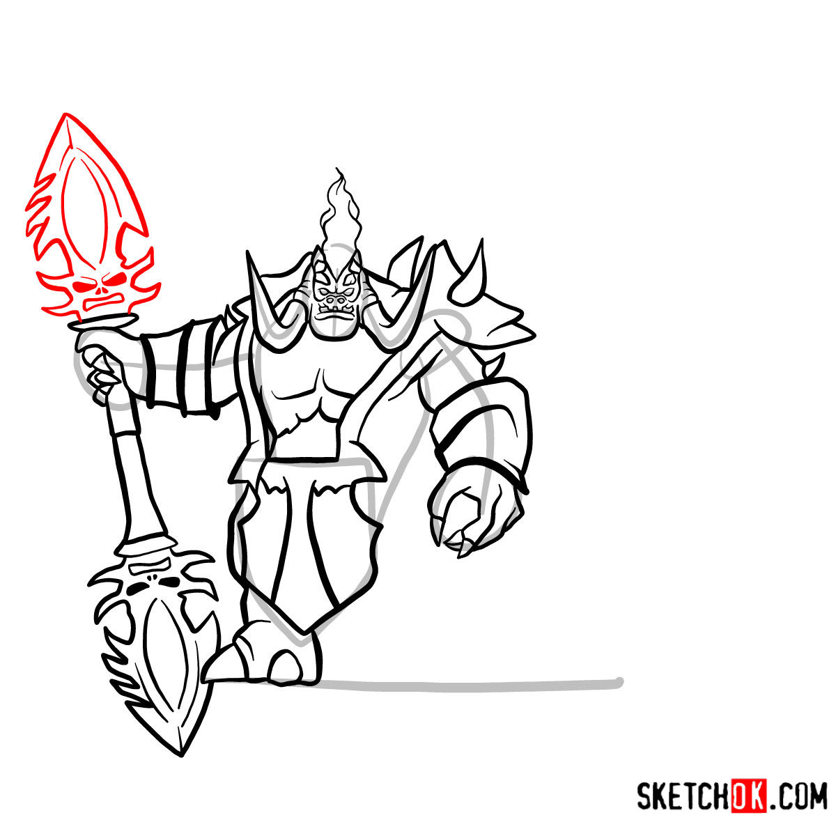How to draw Mannoroth the Destructor   World of Warcraft - step 14