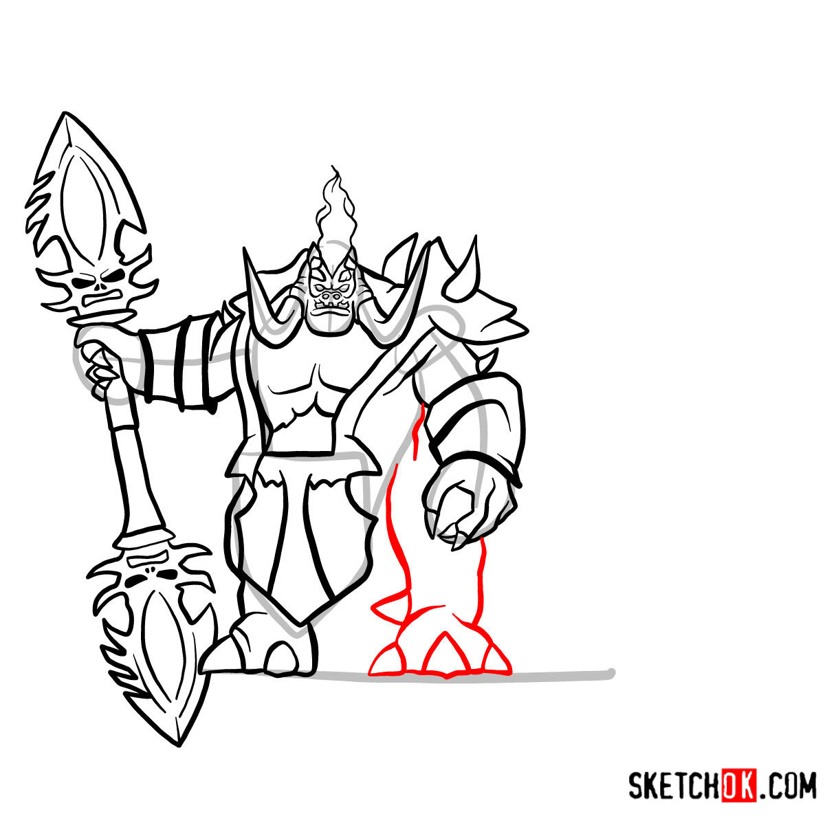 How to draw Mannoroth the Destructor   World of Warcraft - step 15