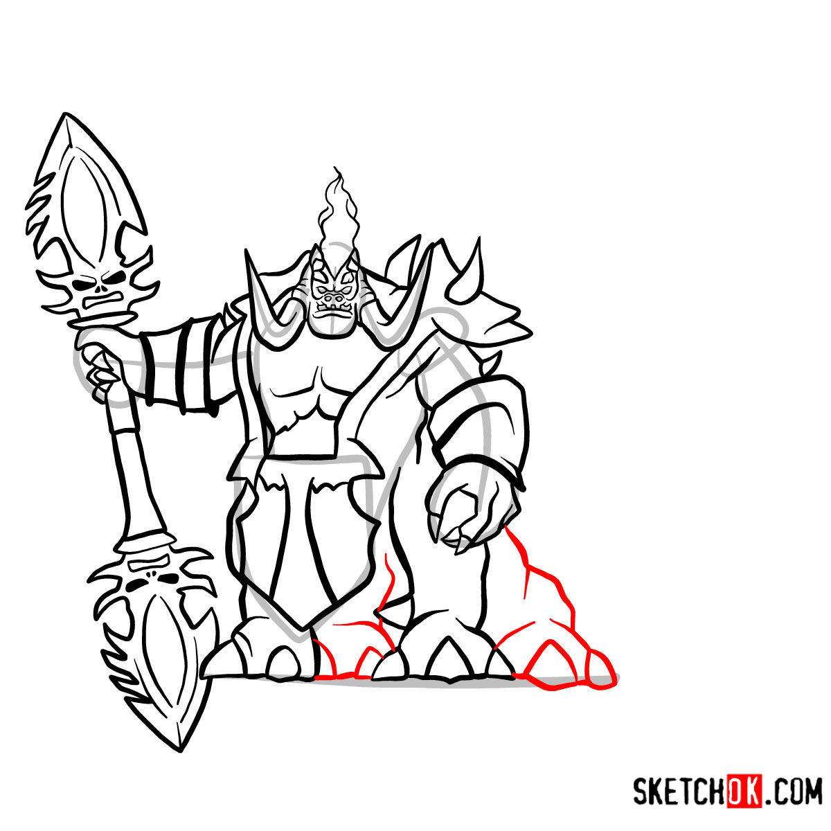 How to draw Mannoroth the Destructor   World of Warcraft - step 16