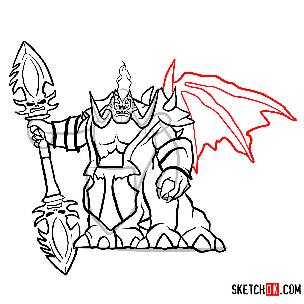 How to draw Mannoroth the Destructor   World of Warcraft - step 17