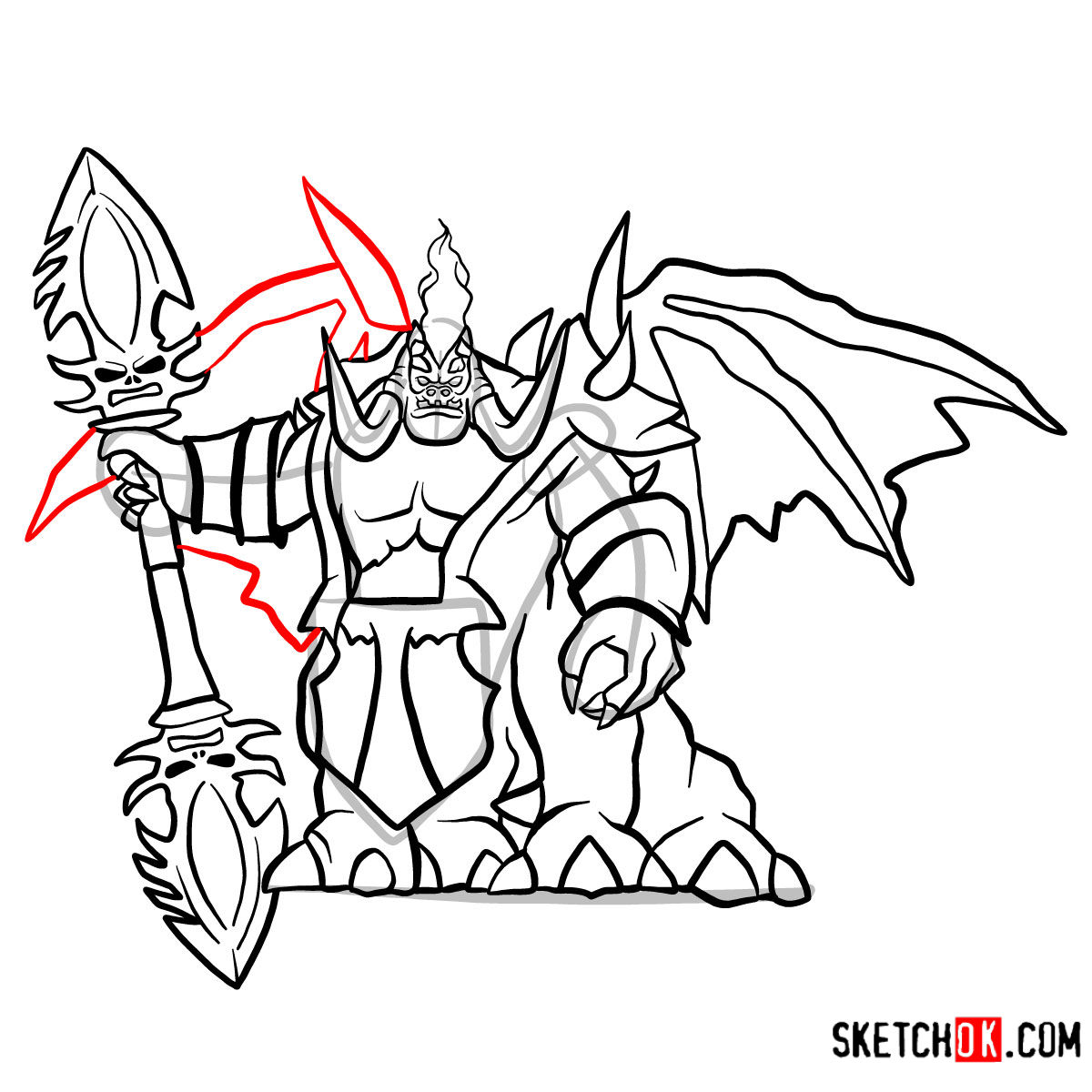 How to draw Mannoroth the Destructor   World of Warcraft - step 18