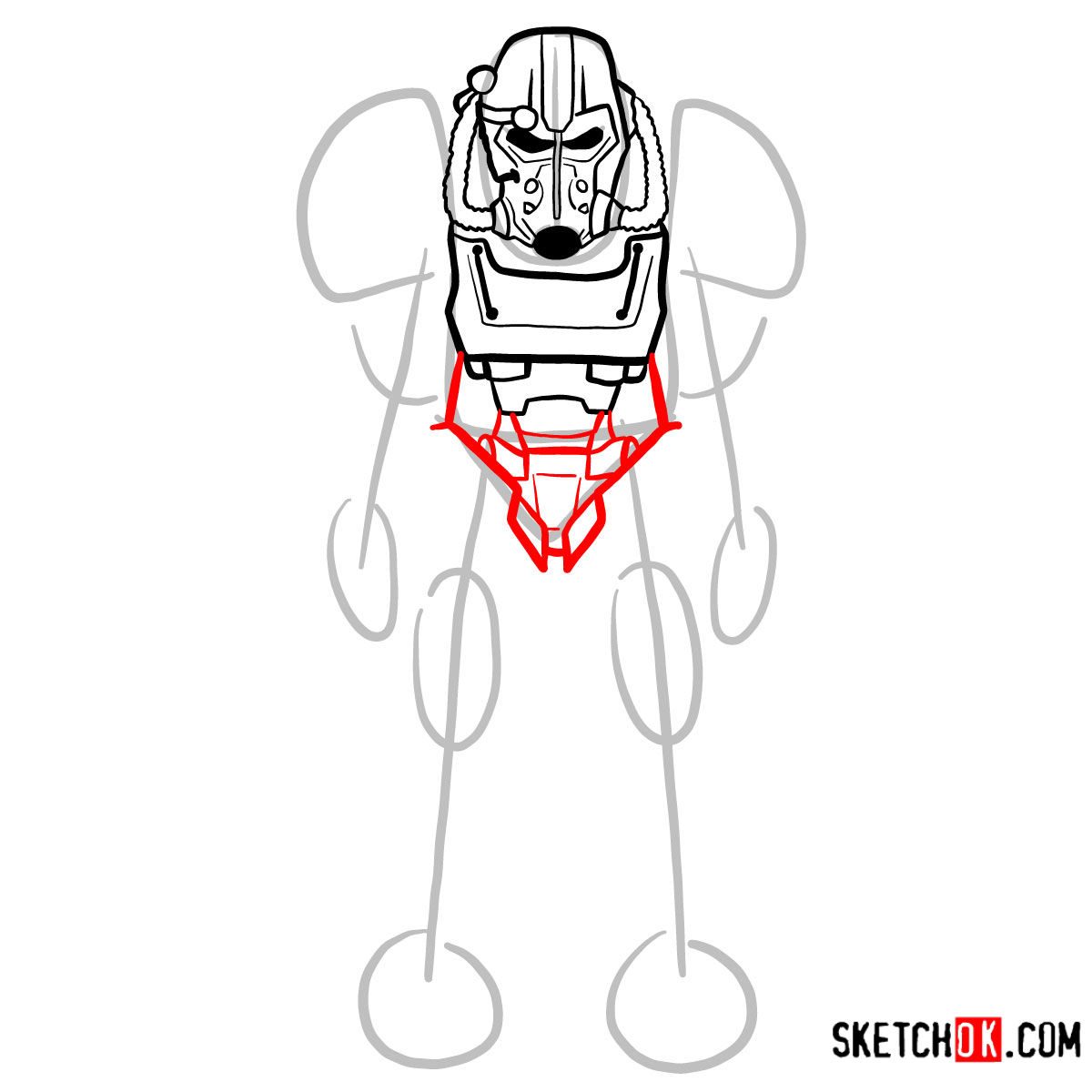 How to draw T-60 power armor | Fallout - step 07