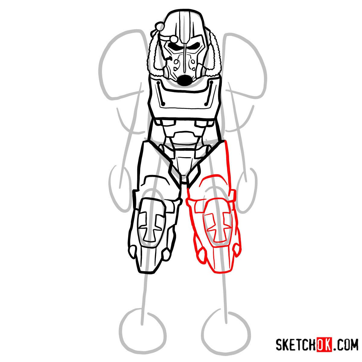 How to draw T-60 power armor | Fallout - step 09