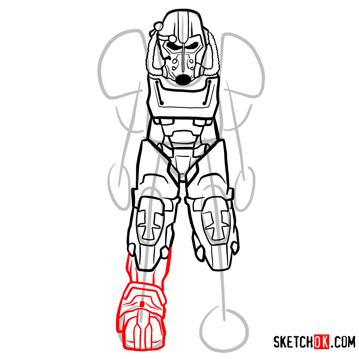 How to draw T-60 power armor | Fallout - step 10