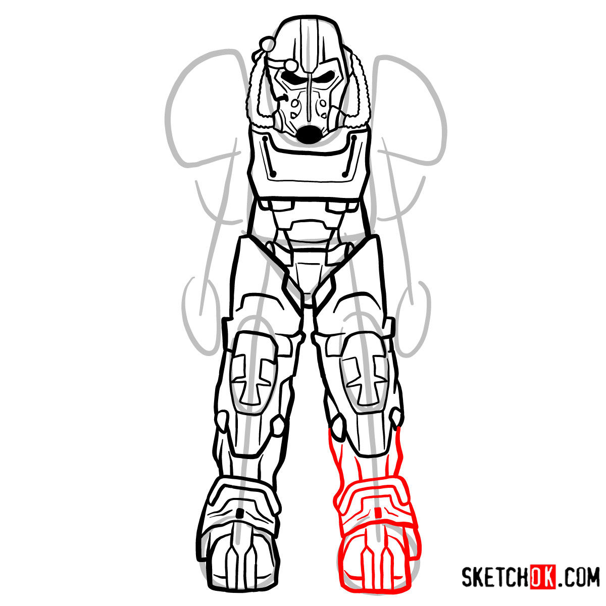 How to draw T-60 power armor | Fallout - step 11