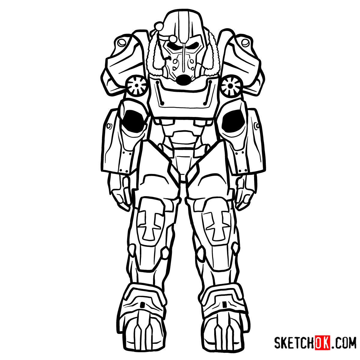 How to draw T-60 power armor | Fallout