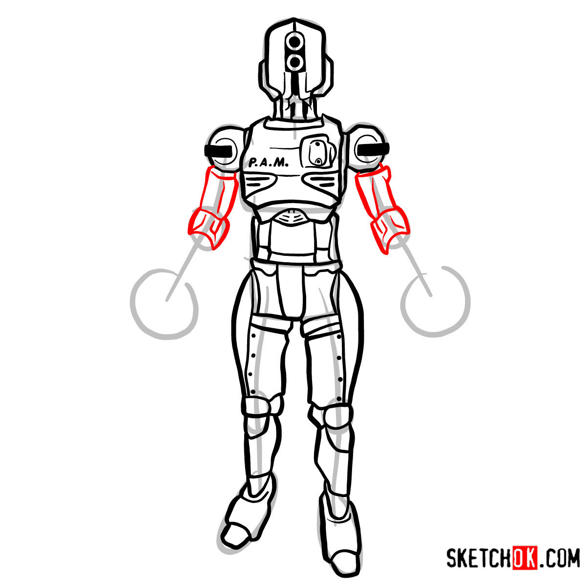 How to draw Assaultron | Fallout - step 12