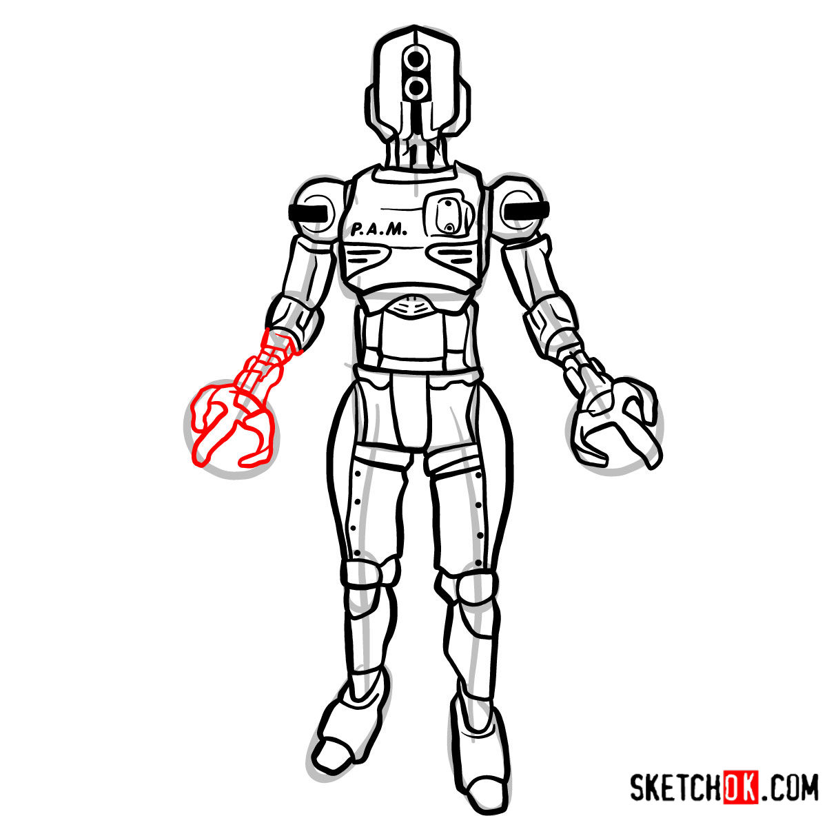 How to draw Assaultron | Fallout - step 14