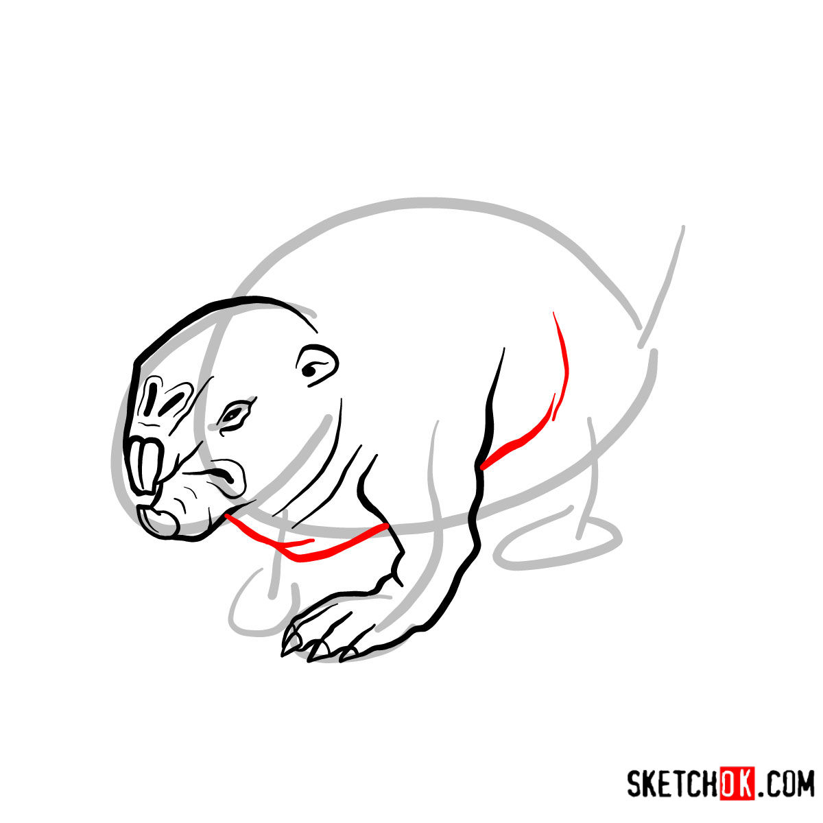 How to draw the Mole rat | Fallout - step 06