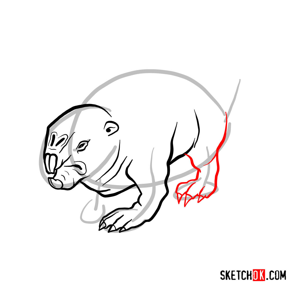 How to draw the Mole rat | Fallout - step 07
