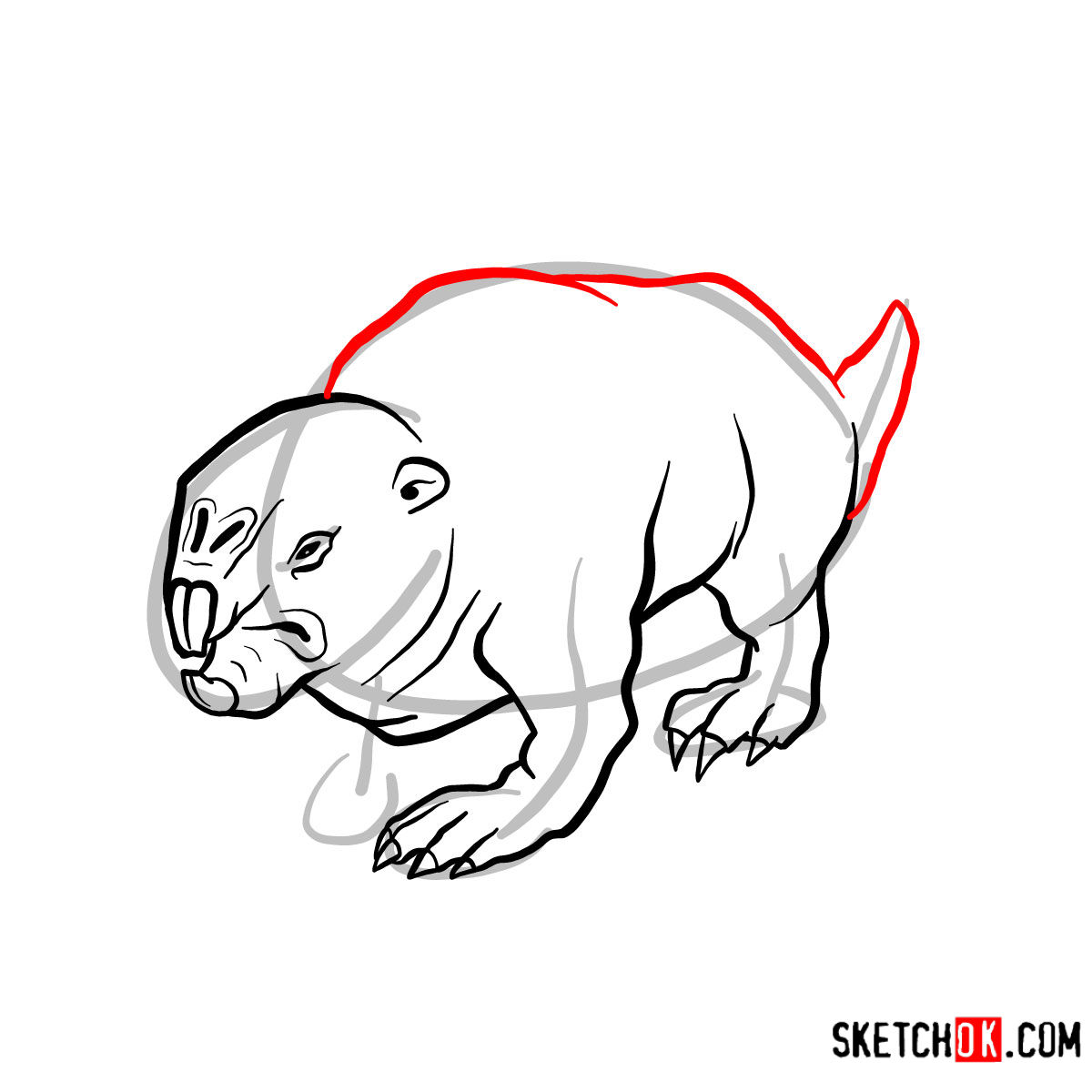 How to draw the Mole rat | Fallout - step 08