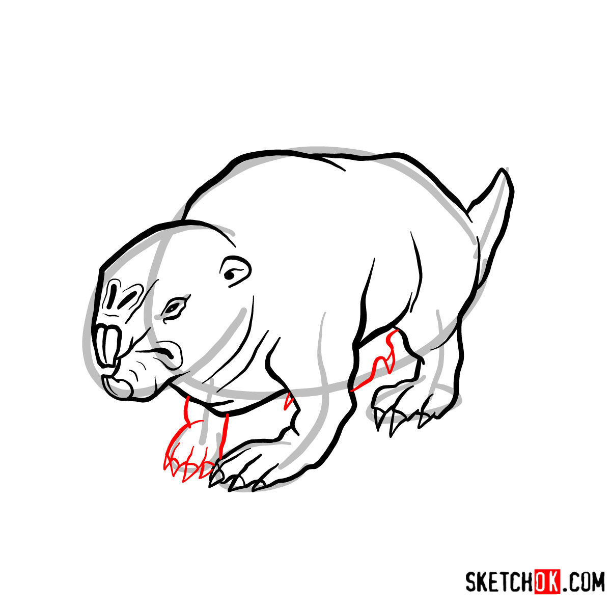 How to draw the Mole rat | Fallout - step 09