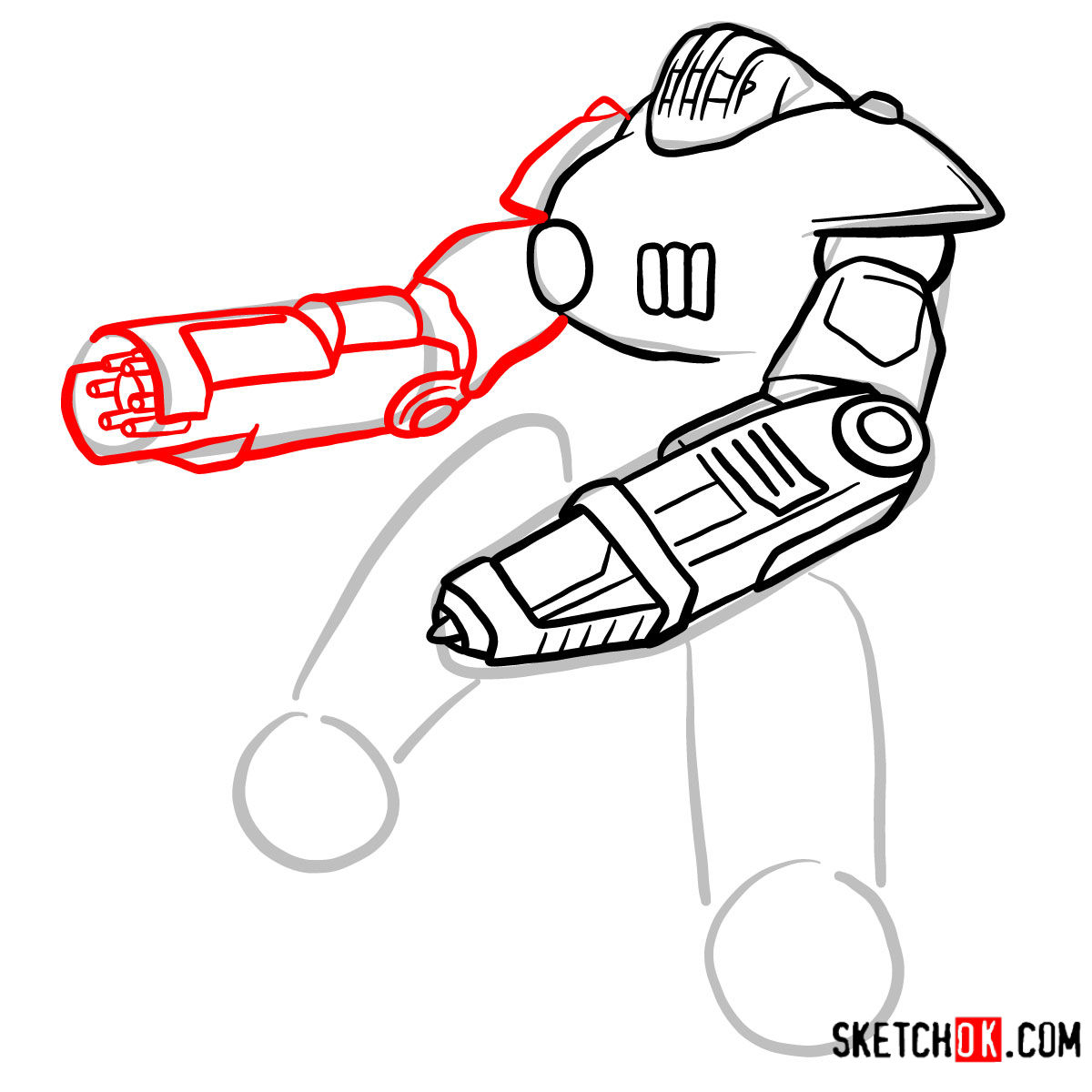 How to draw the Sentry bot   Fallout - step 06