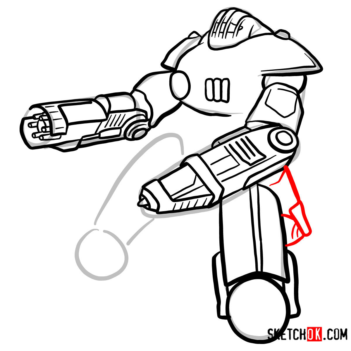 How to draw the Sentry bot   Fallout - step 09