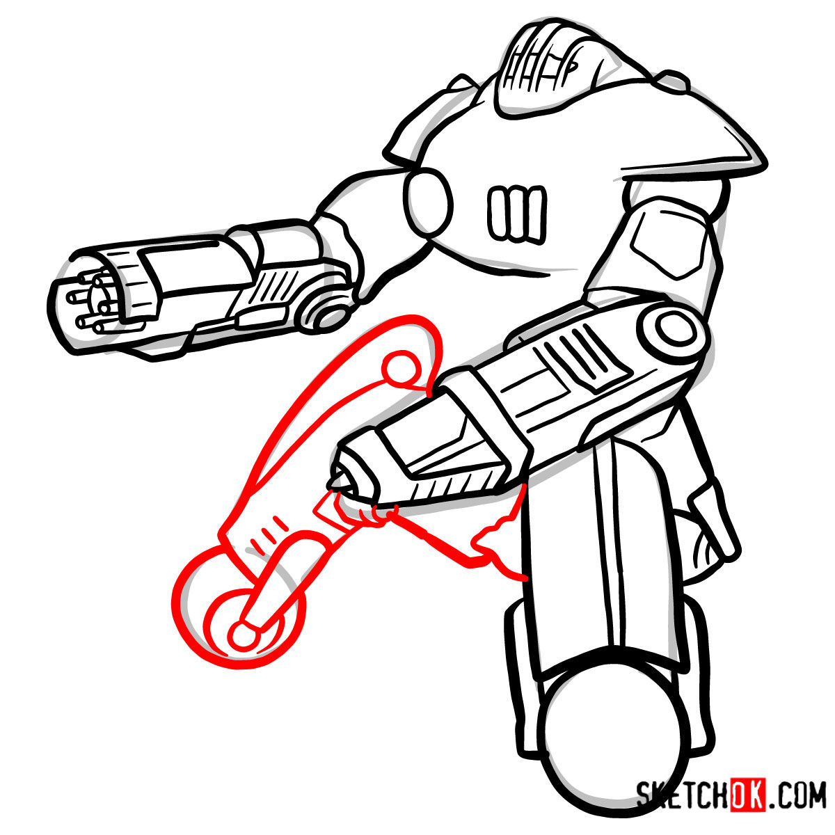How to draw the Sentry bot   Fallout - step 10