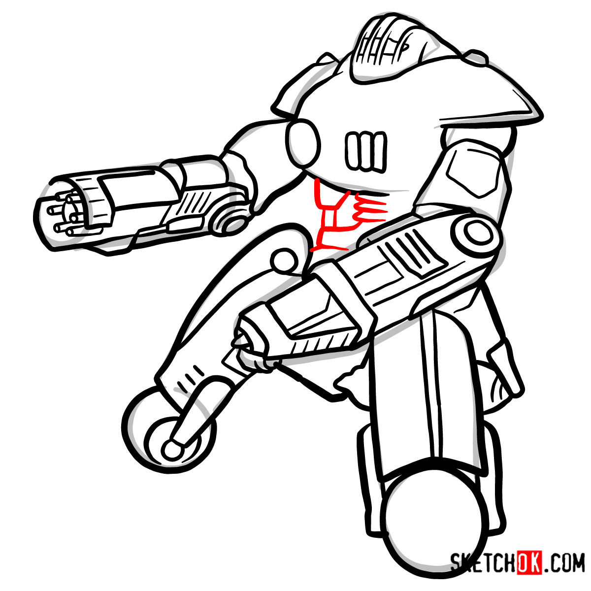 How to draw the Sentry bot   Fallout - step 11