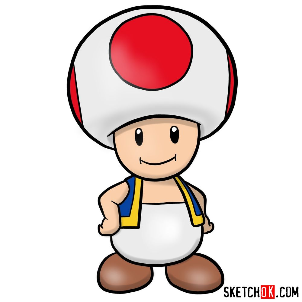 How to draw Toad from Super Mario games