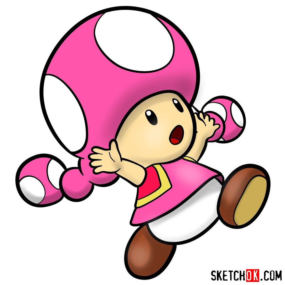 How to draw Toadette from Super Mario games