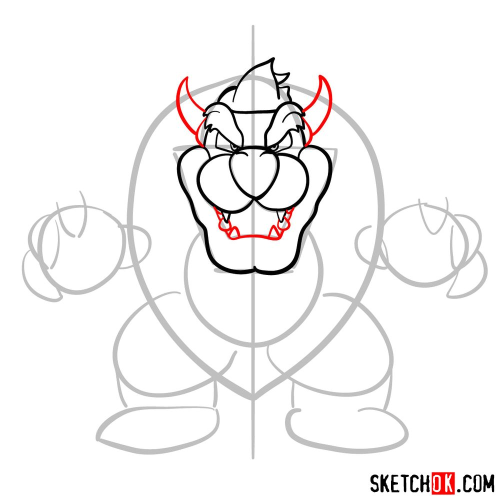 How to draw Bowser from Super Mario games - step 07