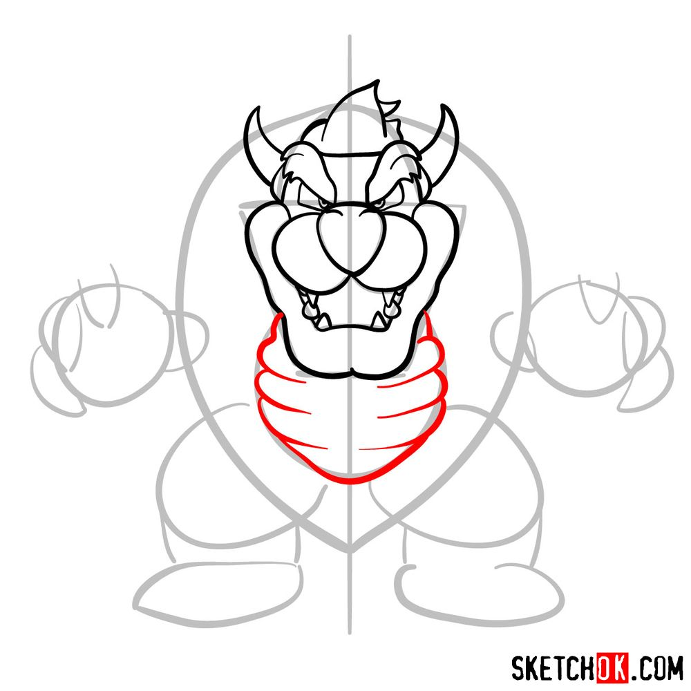 How to draw Bowser from Super Mario games - step 08