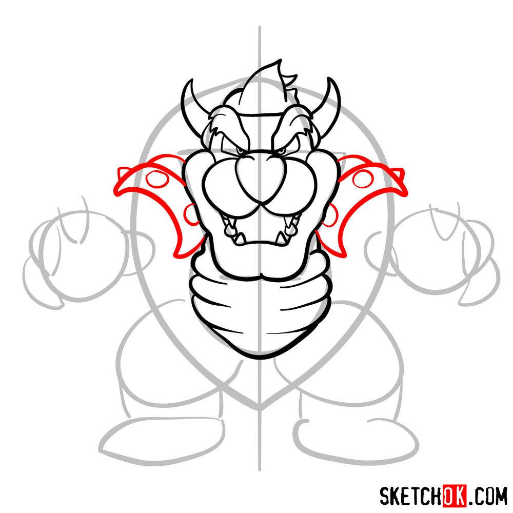 How to draw Bowser from Super Mario games - step 09