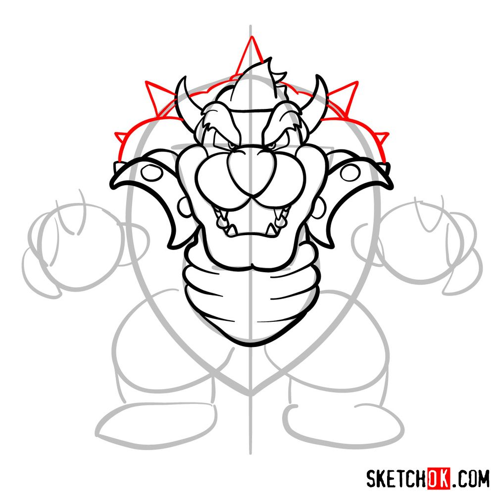 How to draw Bowser from Super Mario games - step 10