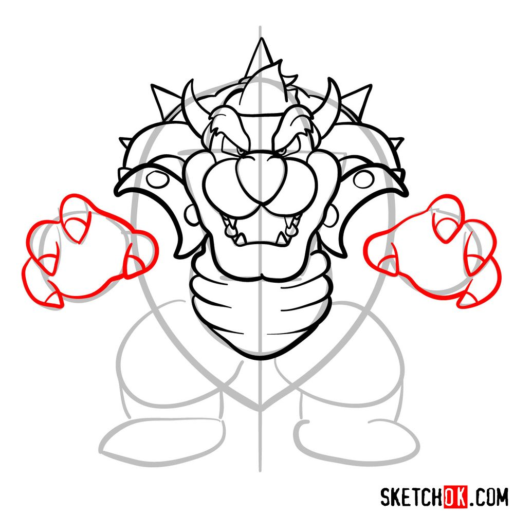 How to draw Bowser from Super Mario games - step 11