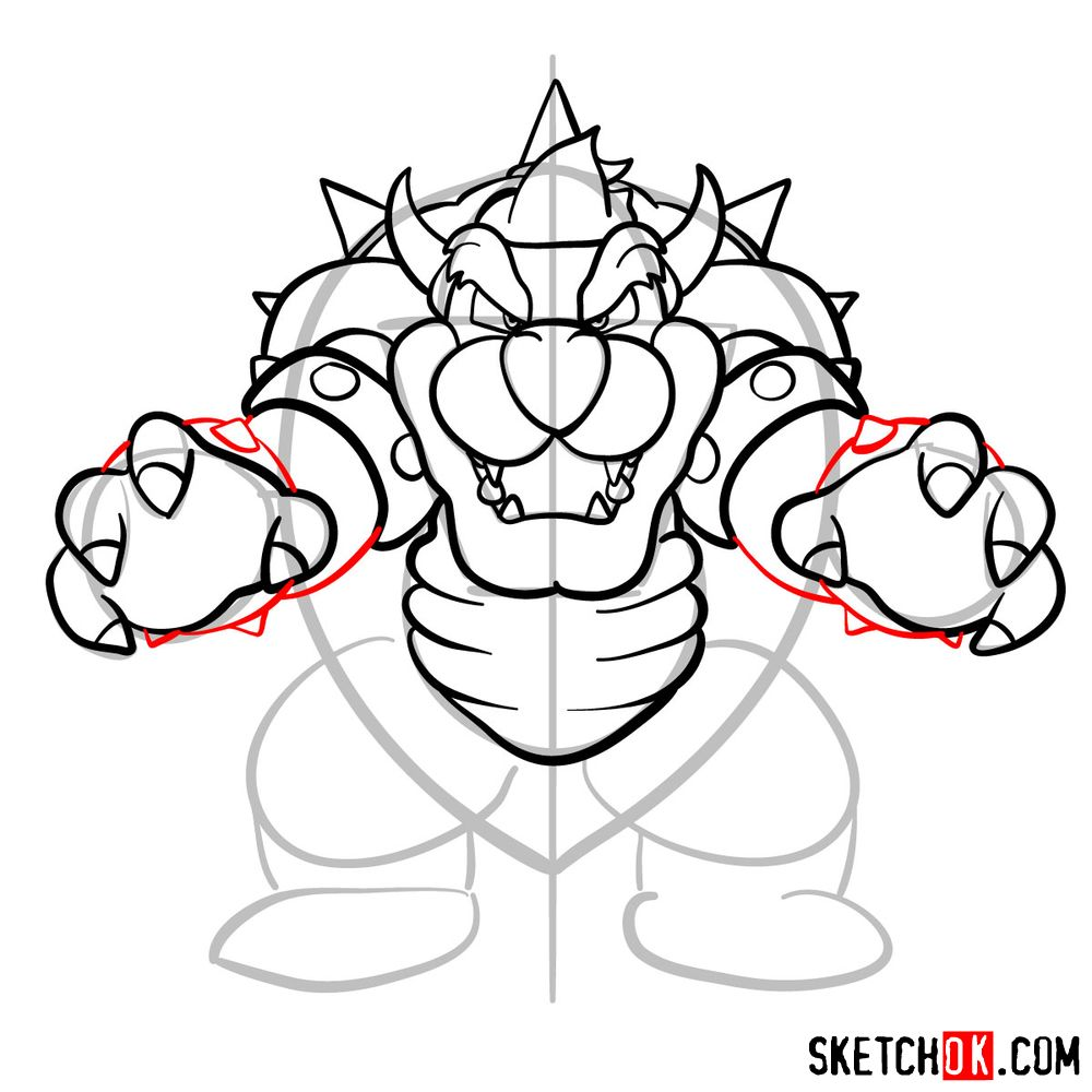 How to draw Bowser from Super Mario games - step 12