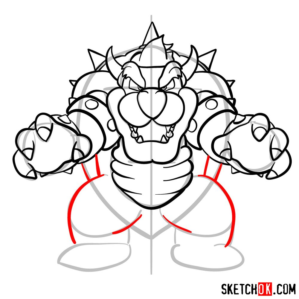 How to draw Bowser from Super Mario games - step 13