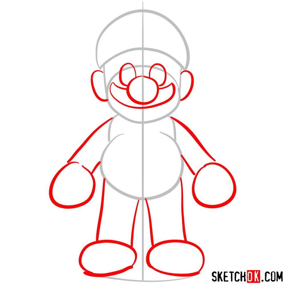 How to draw Mario from Super Mario games - step 02