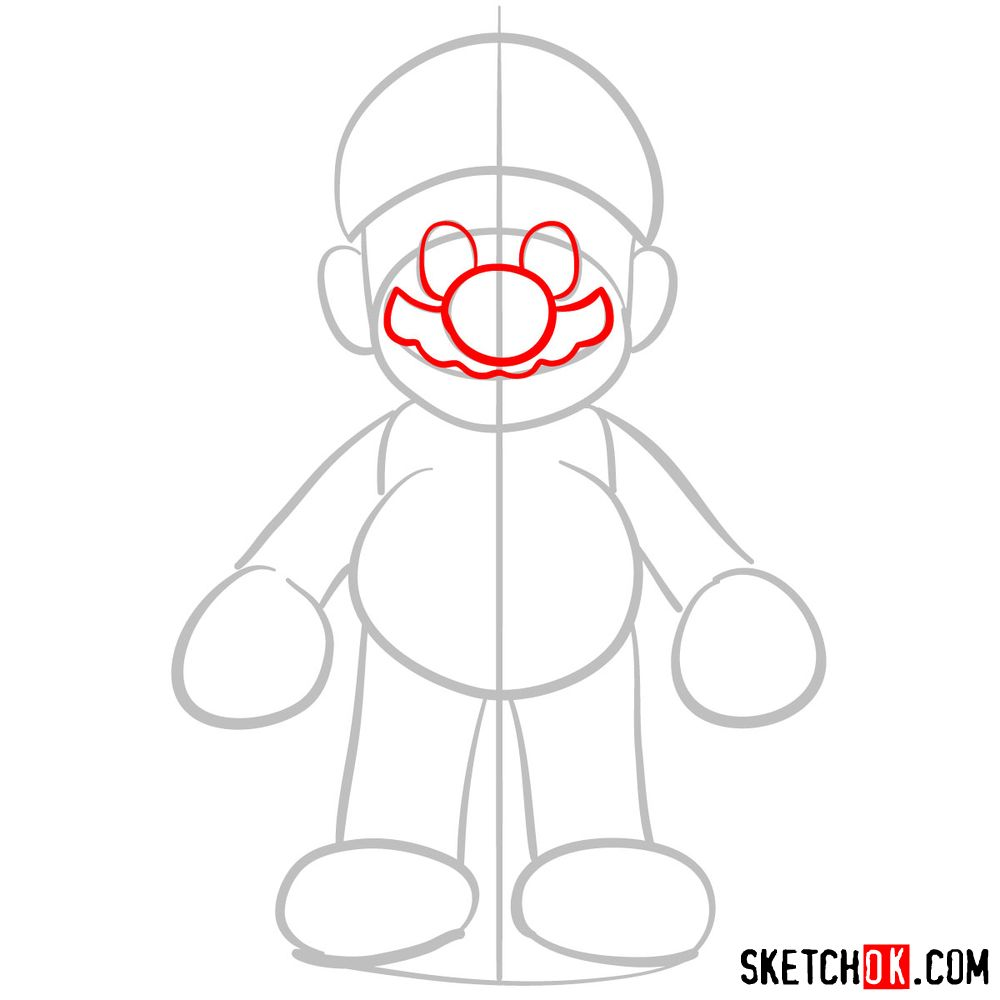 How to draw Mario from Super Mario games - step 03