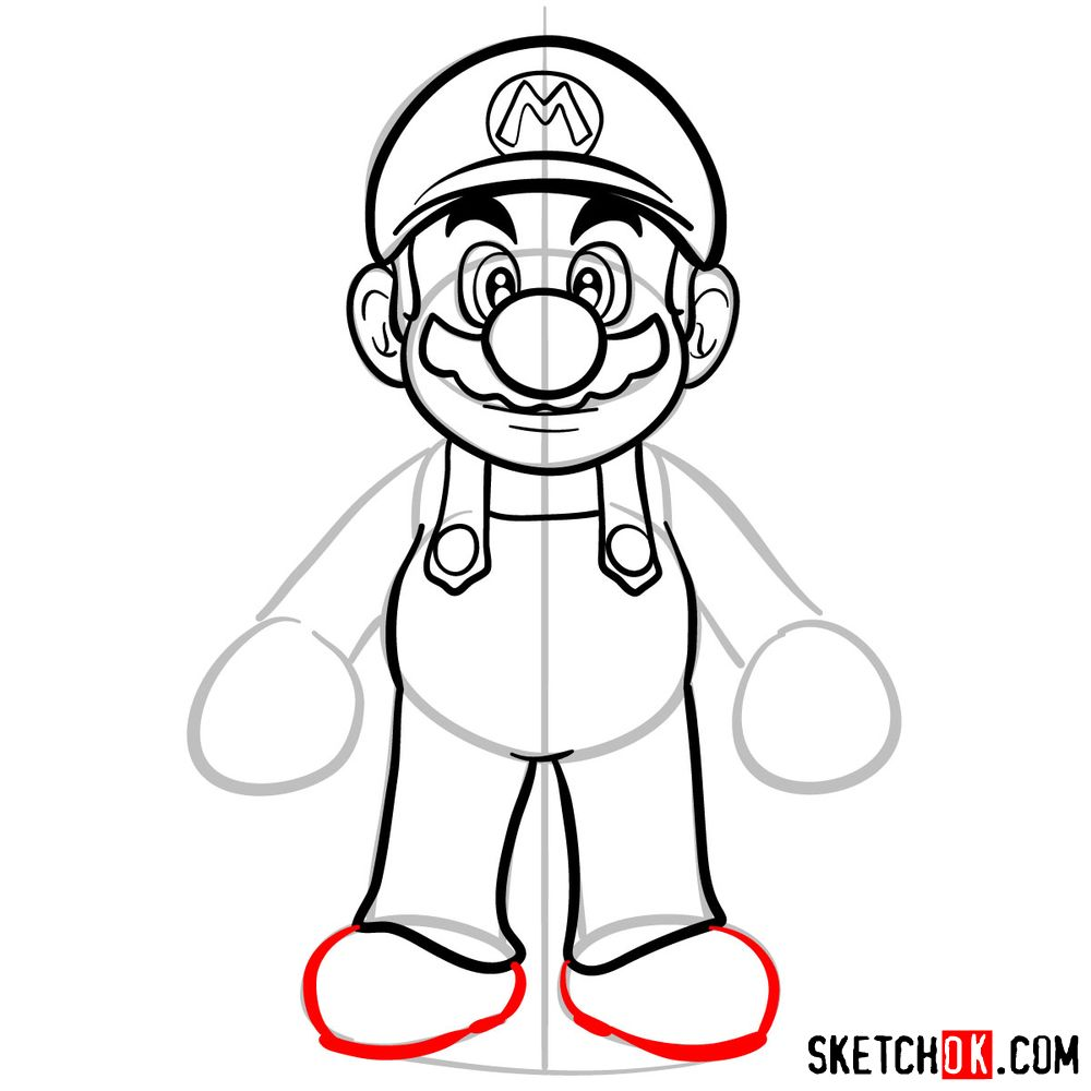 How to draw Mario from Super Mario games - step 09