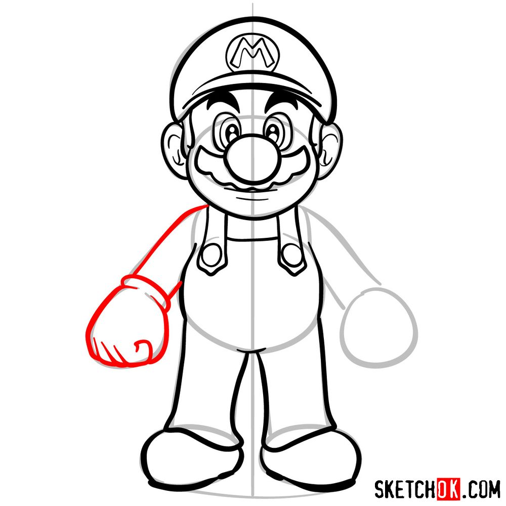 How to draw Mario from Super Mario games - step 10