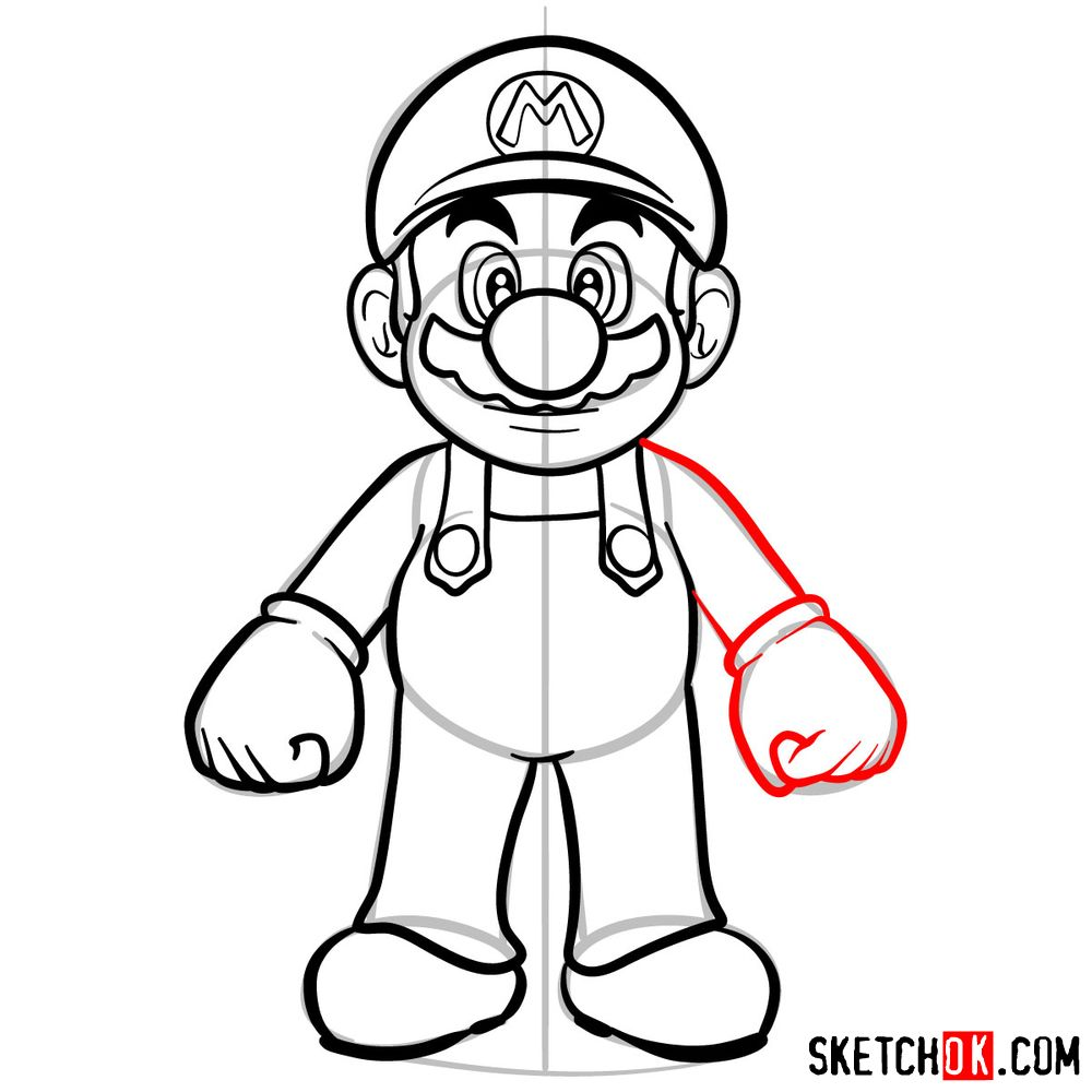 How to draw Mario from Super Mario games - step 11
