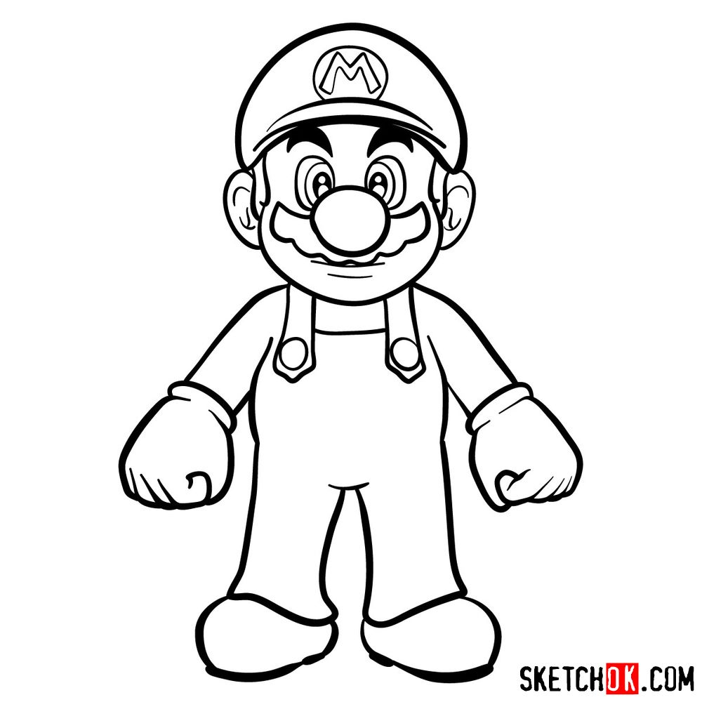 How to draw Mario from Super Mario games - step 12
