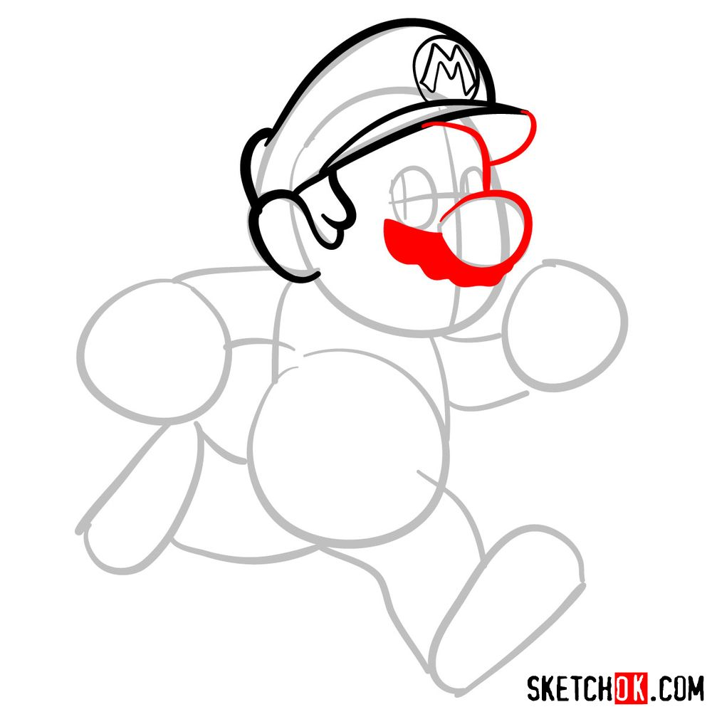 How to draw Super Mario running - step 04