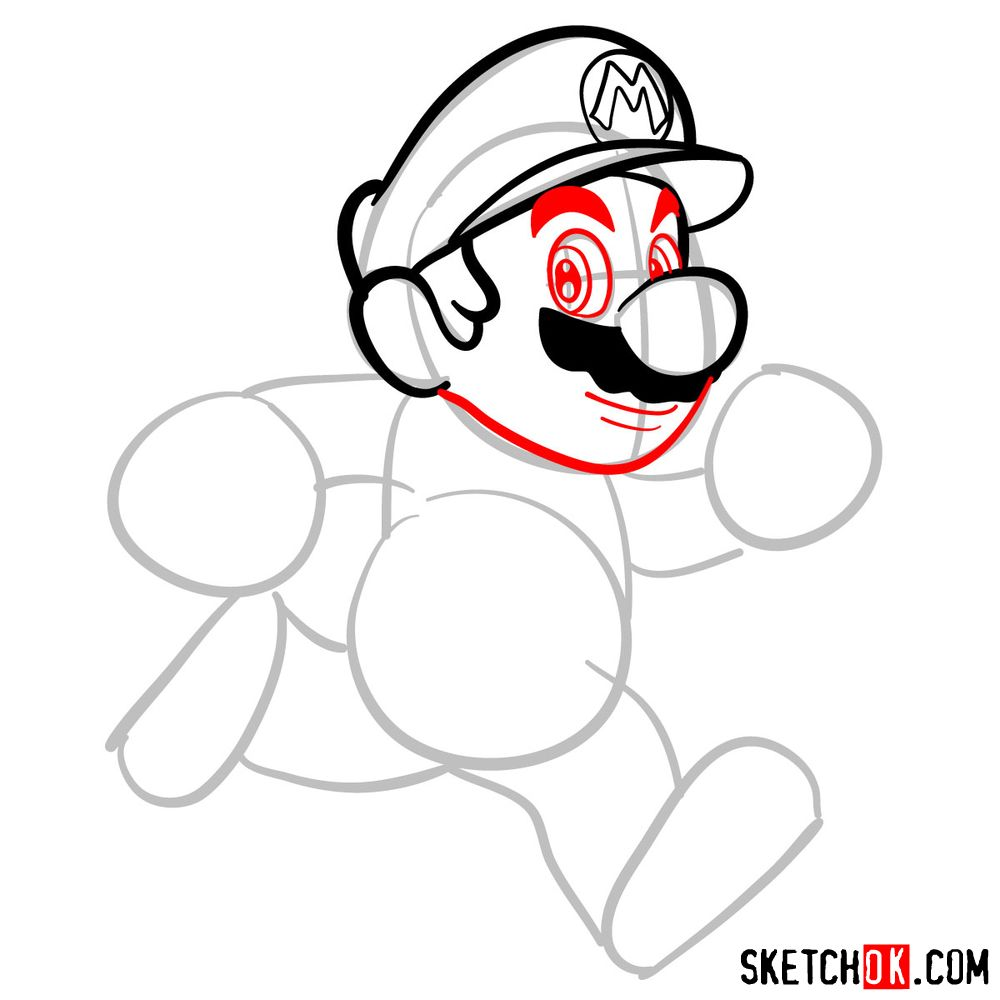How to draw Super Mario running - step 05