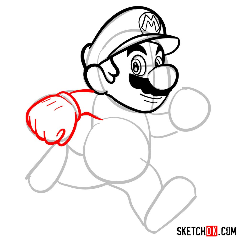How to draw Super Mario running - step 06