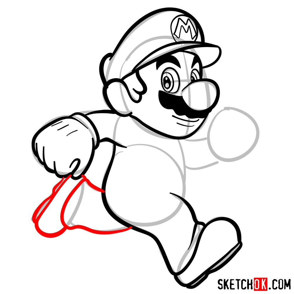 How to draw Super Mario running - step 08