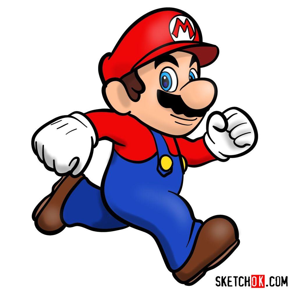 How to draw Super Mario running