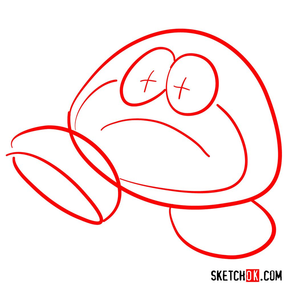 How to draw Galoomba from Super Mario games - step 01