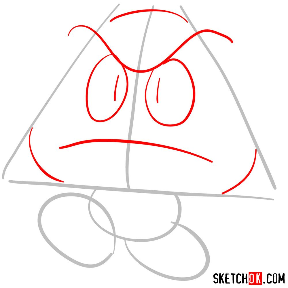 How to draw Goomba from Super Mario games - step 02