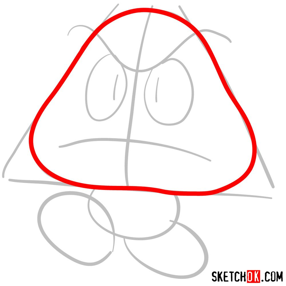 How to draw Goomba from Super Mario games - step 03