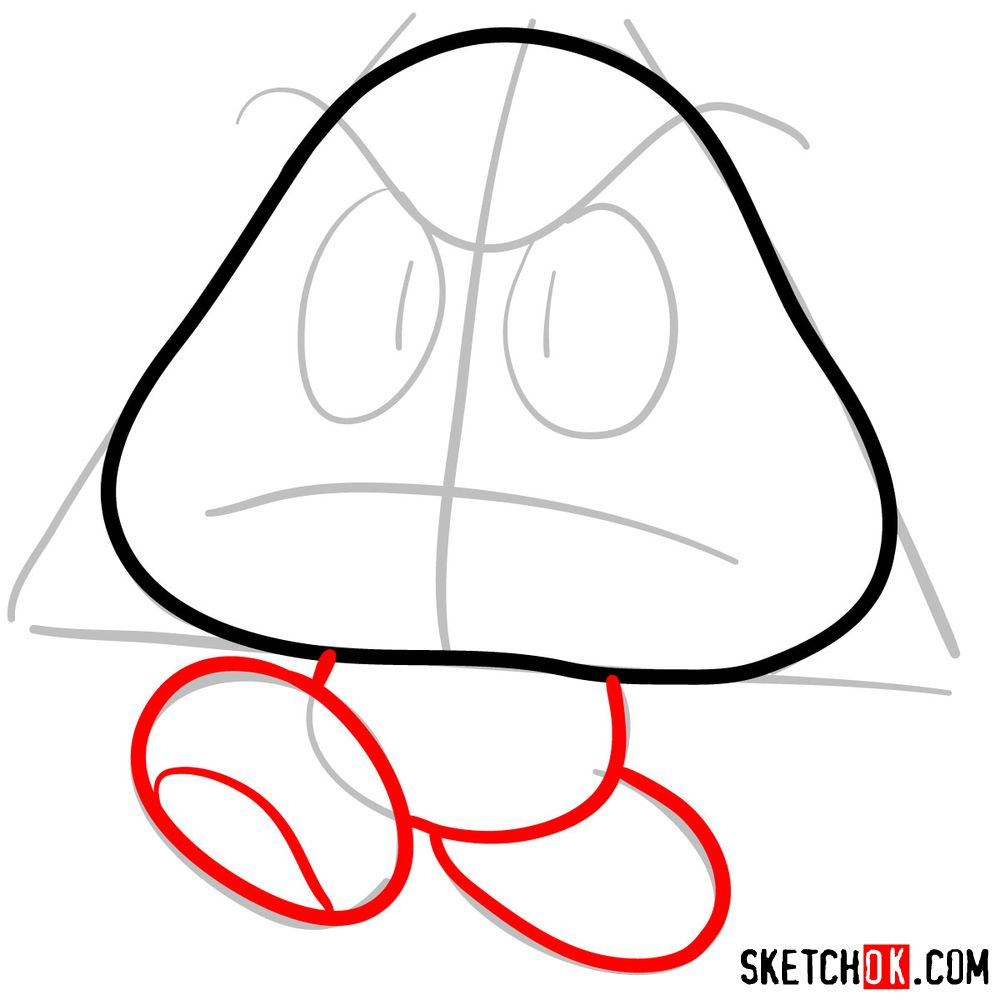 How to draw Goomba from Super Mario games - step 04