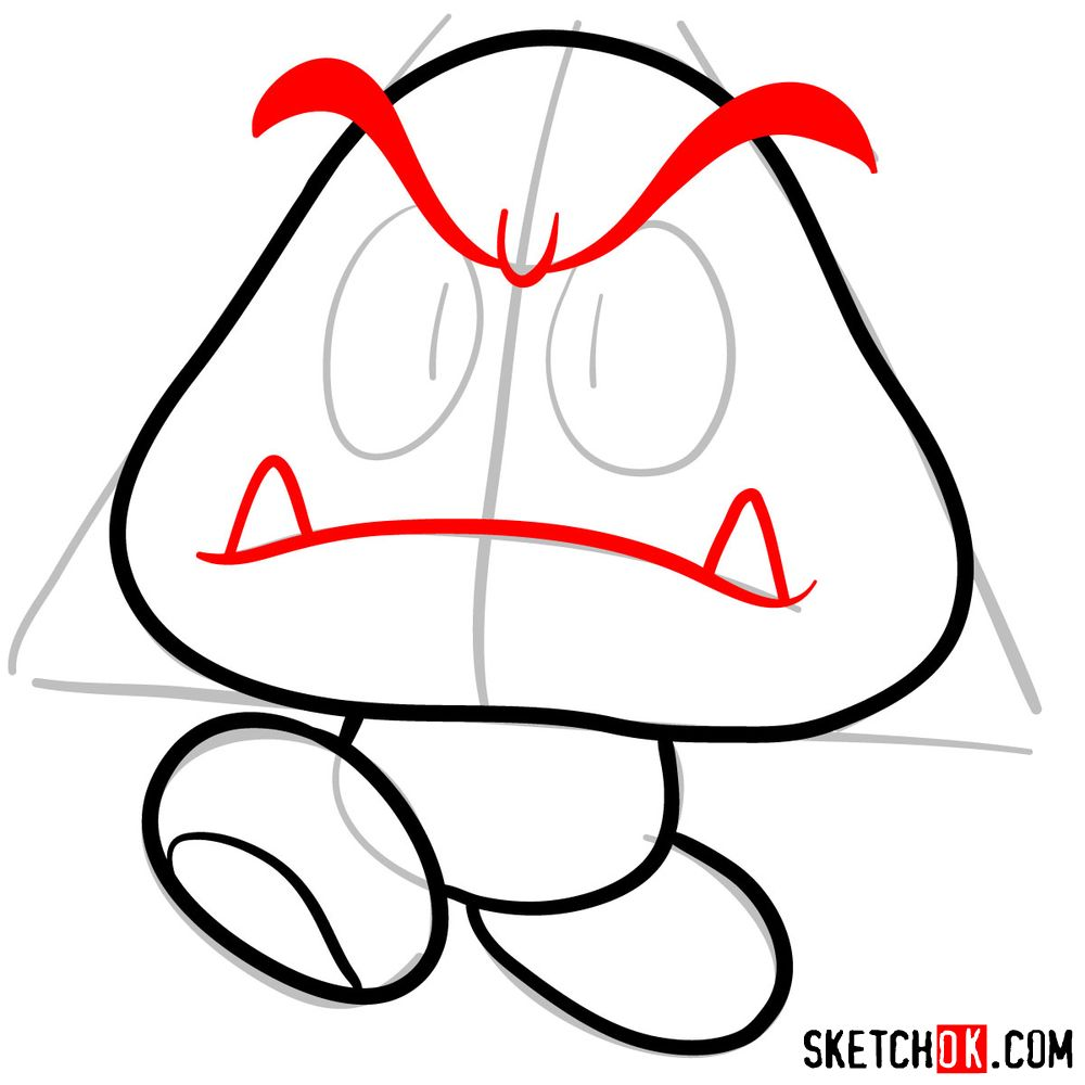 How to draw Goomba from Super Mario games - step 05