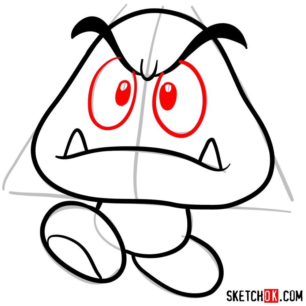 How to draw Goomba from Super Mario games - step 06