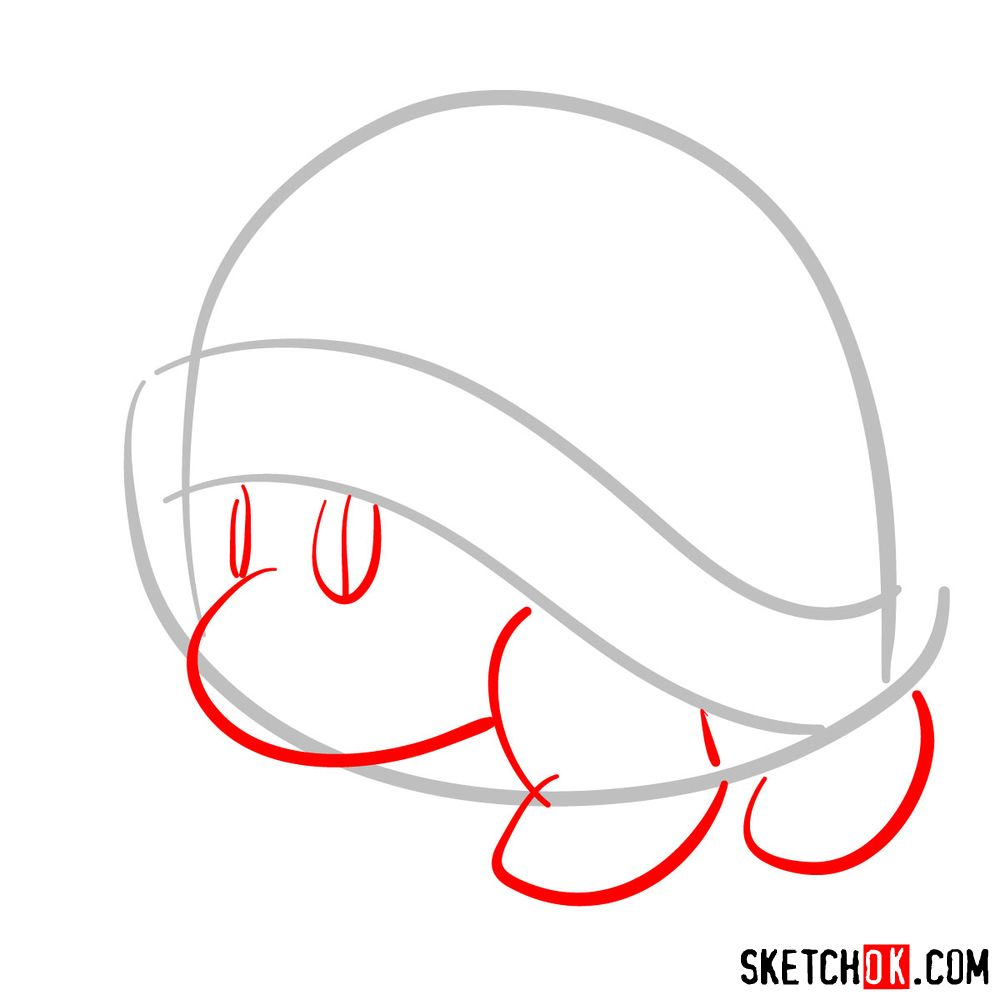 How to draw Buzzy Beetle from Super Mario games - step 02