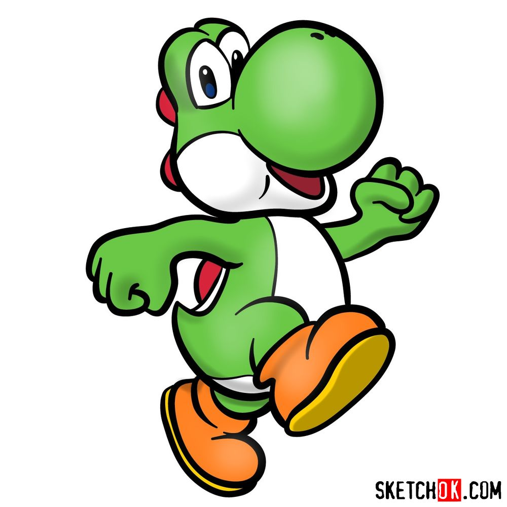 How to draw Yoshi from Super Mario games