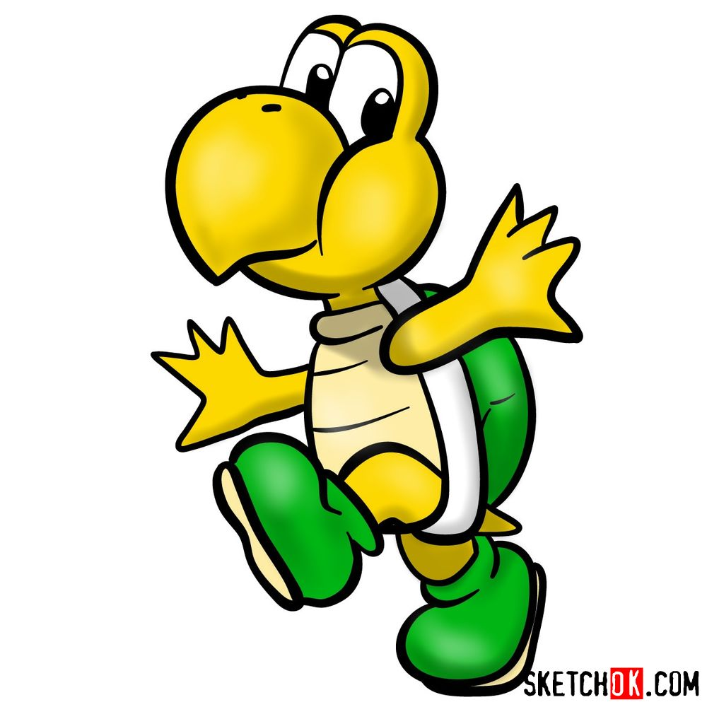 How to draw Koopa Troopa from Super Mario games